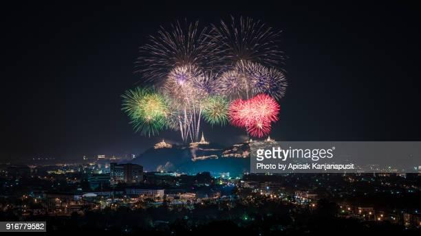 Firework in Pranakornkiri Annual Festival at Phetchaburi, Thailand