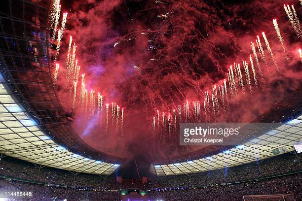 A firework is seen after the DFB Cup final match between MSV Duisburg and FC Schalke 04 at Olympic Stadium on May 21 2011 in Berlin Germany