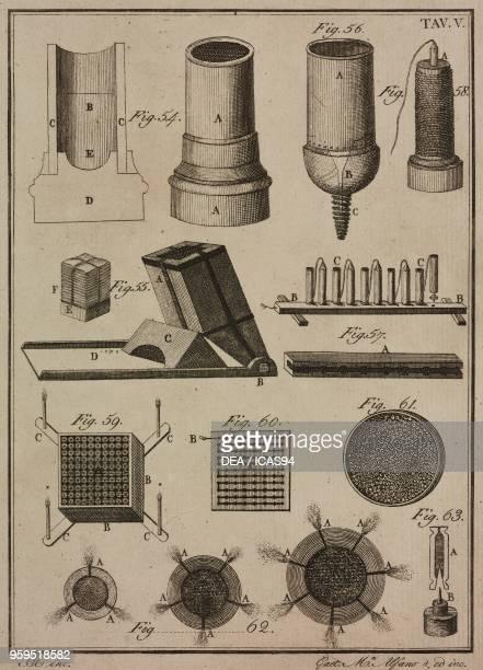 Firework mortars copperplate engraving by Gaetano M Alfano from Istituzioni di Pirotecnica per istruzione di coloro che vogliono apprendere a...