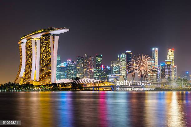 Firework on National Day rehearsal at Marina Bay with lots of Singapore landmark structures.