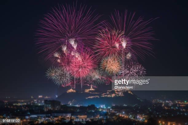firework over the mountain in the festival (phra nakhon khiri) at phetchaburi, thailand - countdown stock pictures, royalty-free photos & images