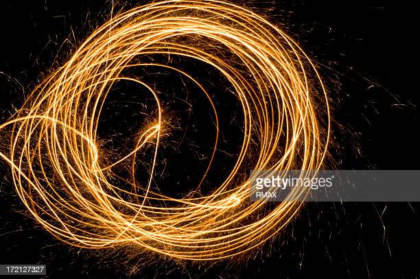 Firework traces and sparks