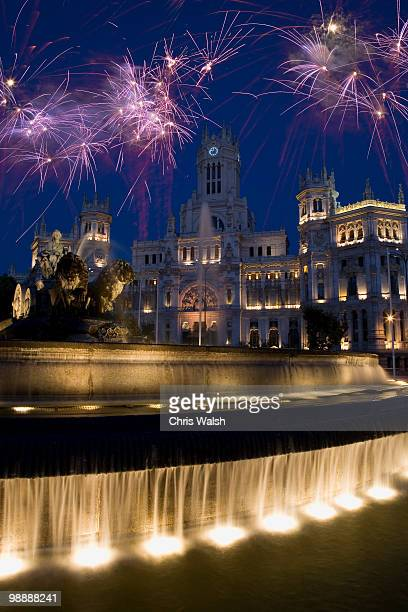 Fireworks above Cibeles Fountain, Madrid, Spain