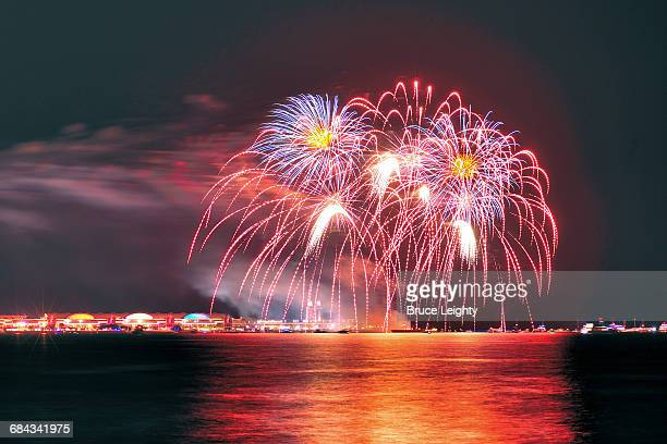 fireworks above navy pier - navy pier stock pictures, royalty-free photos & images