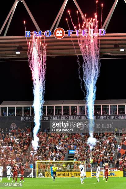 BMO FIELD TORONTO ONTARIO CANADA Fireworks after Toronto FC goal during 2018 MLS Regular Season match between Toronto FC and LA Galaxy at BMO Field