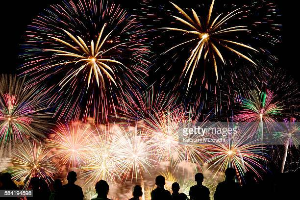 fireworks and audience - firework display stock pictures, royalty-free photos & images