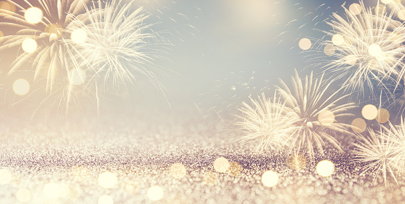 Fireworks and bokeh in New Year eve and space for text. Abstract background holiday. 846629528