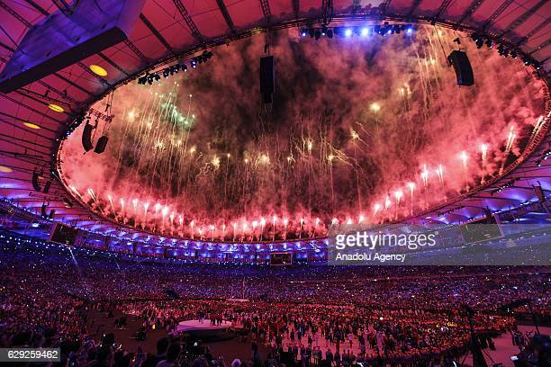 Fireworks and laser show are being performed during the Opening Ceremony of the Rio 2016 Olympic Games at Maracana Stadium in Rio de Janeiro Brazil...