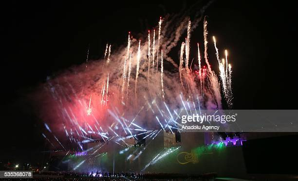 Fireworks and light show with an enaction of conquest of Istanbul is seen during the celebrations of the 563rd anniversary of Istanbuls conquest by...