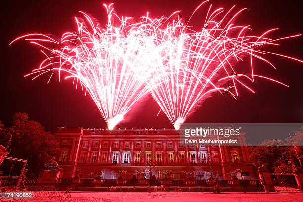 Fireworks and projections seen after the Abdication Of King Albert II Of Belgium Inauguration Of King Philippe on July 21 2013 in Brussels Belgium