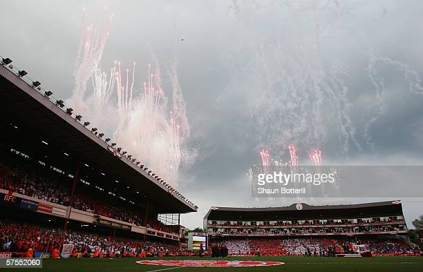 Fireworks and streamers explode after the Barclays Premiership match between Arsenal and Wigan Athletic at Highbury on May 7, 2006 in London,...