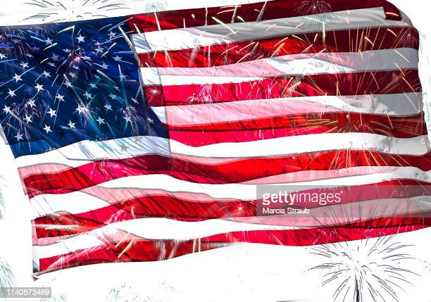 fireworks and the flag of the usa 4th of july - fourth of july background stock pictures, royalty-free photos & images