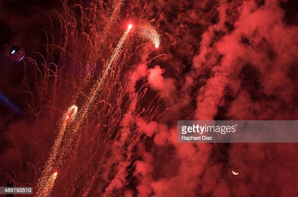 Fireworks and waxing crescent moon before Gojira performs at 2015 Rock in Rio on September 19 2015 in Rio de Janeiro Brazil