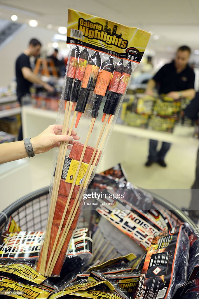 Fireworks are available for sale shortly before New Year's Eve on December 28, 2012 in Frankfurt, Germany. Fireworks sales are prohibited in Germany except for the three days before the new year, and both public and private fireworks displays are a central part of New Year's Eve celebrations.