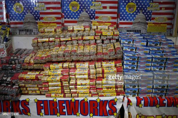 Fireworks are displayed for sale at a fireworks store in Catlettsburg Kentucky US on Thursday June 28 2018 According to the American Pyrotechnics...