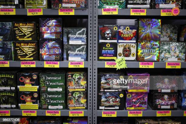 Fireworks are displayed for sale at a store in Muldraugh Kentucky US on Wednesday June 27 2018 According to the American Pyrotechnics Association the...