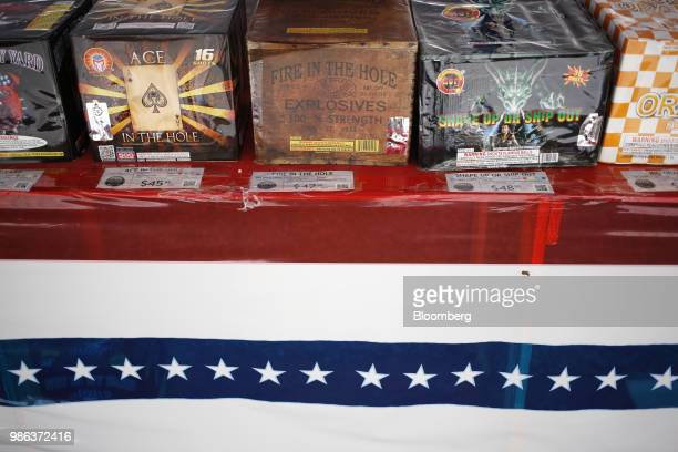 Fireworks are displayed for sale at a vendor tent in Radcliff Kentucky US on Wednesday June 27 2018 According to the American Pyrotechnics...