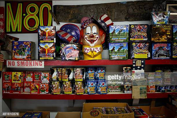 Fireworks are displayed for sale inside Hee Haw Fireworks in Goodlettsville Tennessee US on Tuesday July 1 2014 Revenue from fireworks sales was...