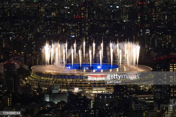 Fireworks are displayed over the Olympic Stadium during the closing ceremony of the Tokyo Olympics on August 8, 2021 in Tokyo, Japan.