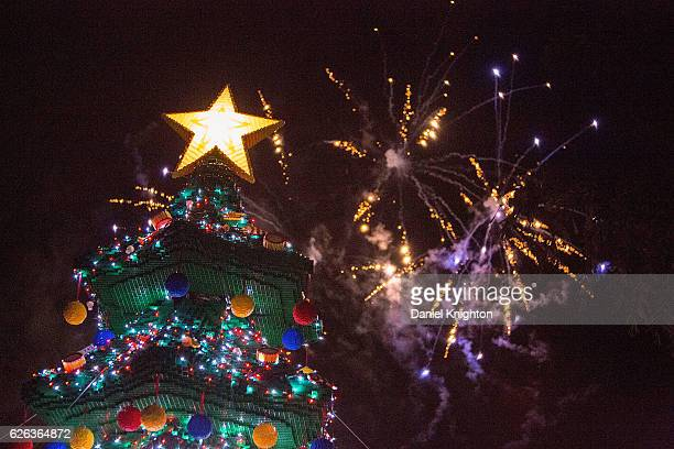 Fireworks are launched as LEGOLAND California Resort's 14th Annual Tree Lighting Ceremony climaxes at LEGOLAND on November 28 2016 in Carlsbad...