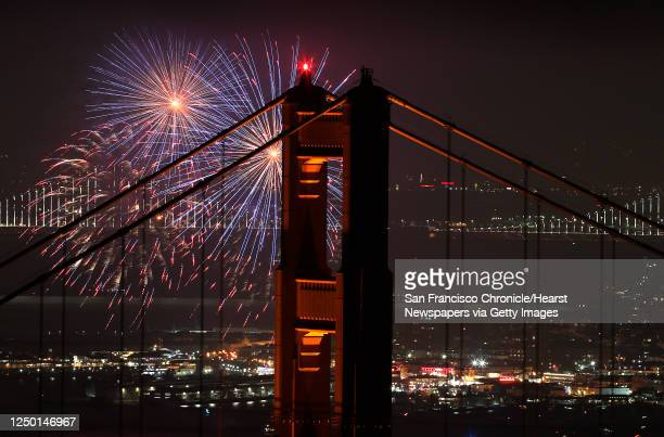 Fireworks are launched during a Fourth of July celebration in San Francisco Calif on Wednesday July 4 2018