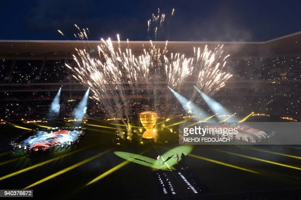 Fireworks are let off ahead of the French League Cup final football match between Monaco and Paris SaintGermain at The Matmut Atlantique Stadium in...