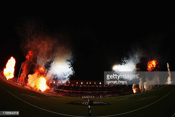Fireworks are let off during the Super Rugby Final match between the Chiefs and the Brumbies at Waikato Stadium on August 3 2013 in Hamilton New...