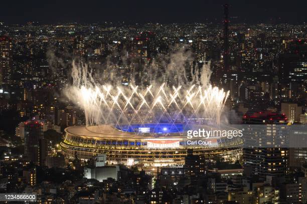 Fireworks are let off over the Olympic Stadium during the closing ceremony of the Tokyo Olympics on August 8, 2021 in Tokyo, Japan.