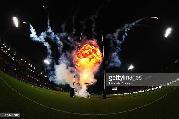 Fireworks are let off prior to the round 17 Super Rugby match between the Chiefs and the Crusaders at Waikato Stadium on July 6 2012 in Hamilton New...
