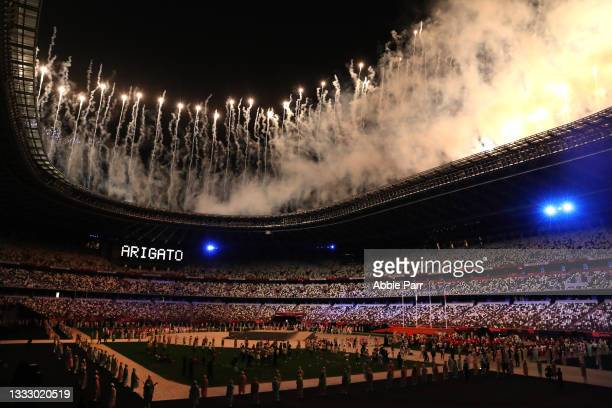 Fireworks are lit off to end the Tokyo 2020 Olympic Games closing ceremony on day sixteen at Olympic Stadium on August 08, 2021 in Tokyo, Japan.