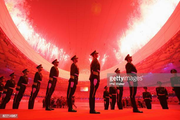 Fireworks are pictured over the stadium during the Opening Ceremony for the 2008 Beijing Summer Olympics at the National Stadium on August 8, 2008 in...