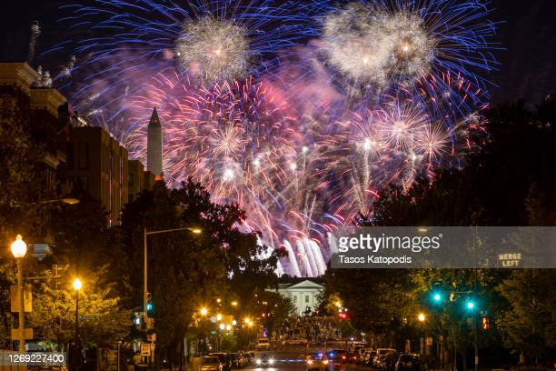 Fireworks are seen above the Washington Monument and the White House at the conclusion of the final day of the Republican National Convention on...