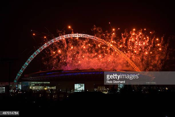 Fireworks are seen above Wembley Stadium following a speech by Indian Prime Minister Narendra Modi during the second day of an official three day...