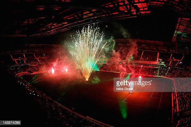 Fireworks are seen after the match between the New York Red Bulls and the San Jose Earthquakes at Red Bull Arena on April 14 2012 in Harrison New...