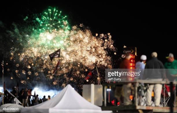 Fireworks are seen after the NASCAR Sprint Cup Series Bojangles' Southern 500 at Darlington Raceway on April 12 2014 in Darlington South Carolina