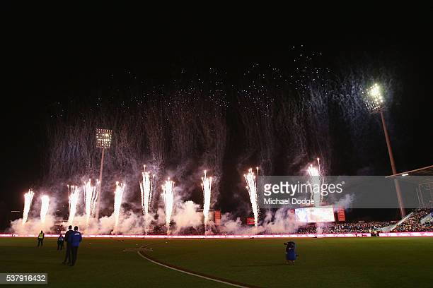 Fireworks are seen before the round 11 AFL match between the North Melbourne Kangaroos and the Richmond Tigers at Blundstone Arena on June 3 2016 in...