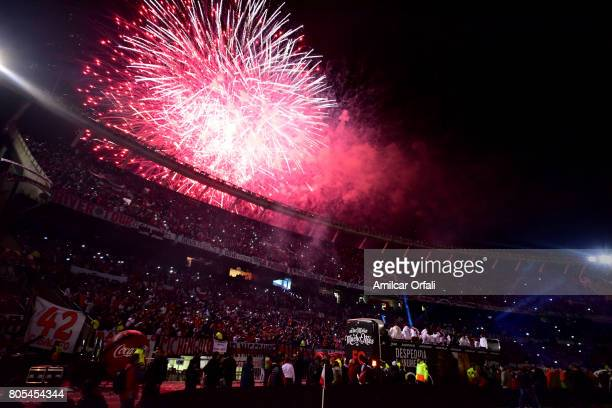 Fireworks are seen during Fernando Cavenaghi's farewell match at Monumental Stadium on July 01 2017 in Buenos Aires Argentina