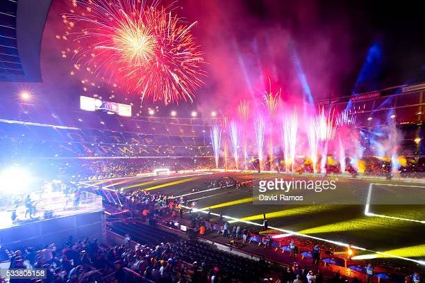 Fireworks are seen during the celebrations of La Liga and Copa del Rey trophies at the Camp Nou stadium on May 23 2016 in Barcelona Spain