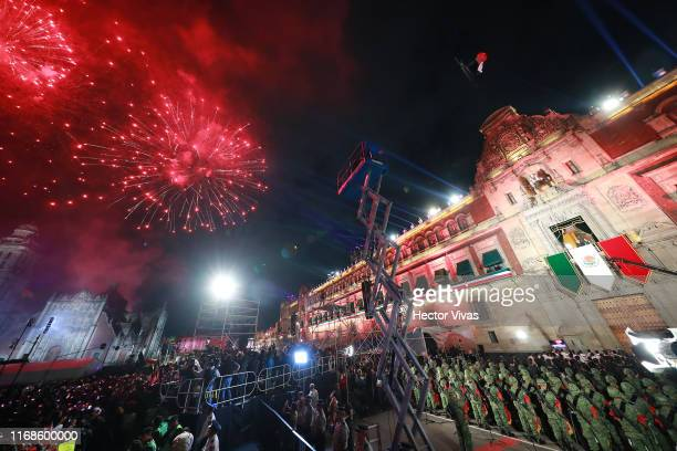 Fireworks are seen during the celebrations of Mexico's Independence Day at Zocalo on September 15 2019 in Mexico City Mexico This event also known as...