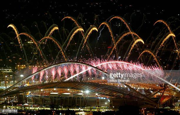 Fireworks are seen during the closing ceremonies of the Athens 2004 Summer Olympic Games on August 29, 2004 at the Sports Complex Olympic Stadium in...