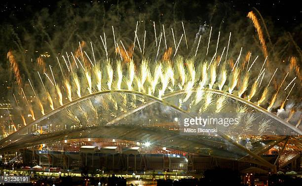 Fireworks are seen during the closing ceremonies of the Athens 2004 Summer Olympic Games on August 29 2004 at the Sports Complex Olympic Stadium in...
