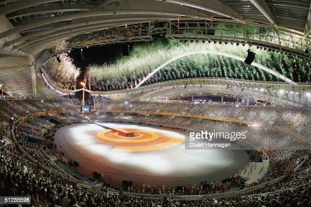 Fireworks are seen during the closing ceremony of the Athens 2004 Summer Olympic Games on August 29 2004 at the Sports Complex Olympic Stadium in...
