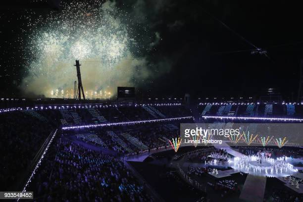 Fireworks are seen during the closing ceremony of the PyeongChang 2018 Paralympic Games at the PyeongChang Olympic Stadium on March 18 2018 in...
