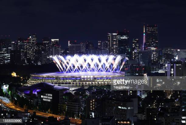 Fireworks are seen during the Closing Ceremony of the Tokyo 2020 Olympic Games at Olympic Stadium on August 08, 2021 in Tokyo, Japan.