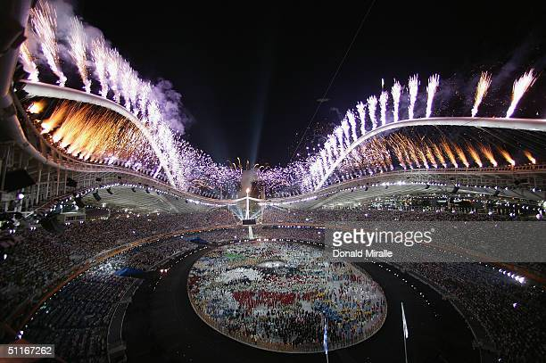 Fireworks are seen during the end of the opening ceremony of the Athens 2004 Summer Olympic Games on August 13 2004 at the Sports Complex Olympic...