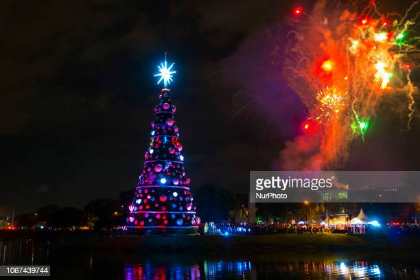 Fireworks are seen during the inauguration ceremony of a 43-meter-high Christmas Tree at Ibirapuera Park in São Paulo, Brazil, on December 01, 2018.
