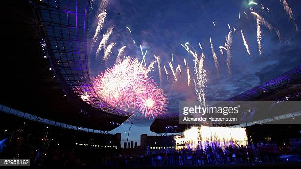 Fireworks are seen during the international German gymnastics festival stadium gala on May 20 2005 in Berlin Germany