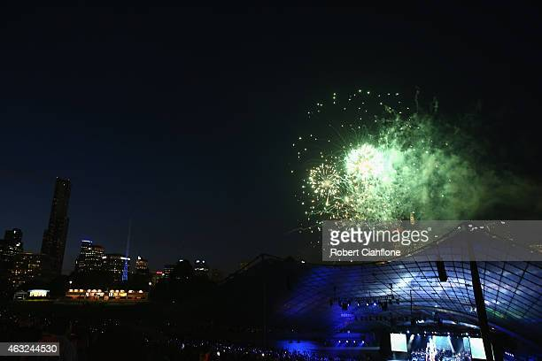 Fireworks are seen during the Opening Ceremony ahead of the ICC 2015 Cricket World Cup at the Myer Music Bowl on February 12 2015 in Melbourne...