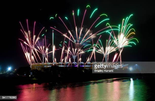 Fireworks are seen during the Opening Ceremony for the Gold Coast 2018 Commonwealth Games at Carrara Stadium on April 4, 2018 on the Gold Coast,...