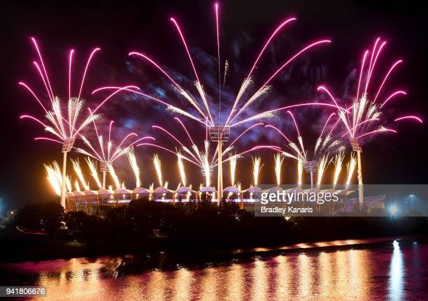 Fireworks are seen during the Opening Ceremony for the Gold Coast 2018 Commonwealth Games at Carrara Stadium on April 4 2018 on the Gold Coast...